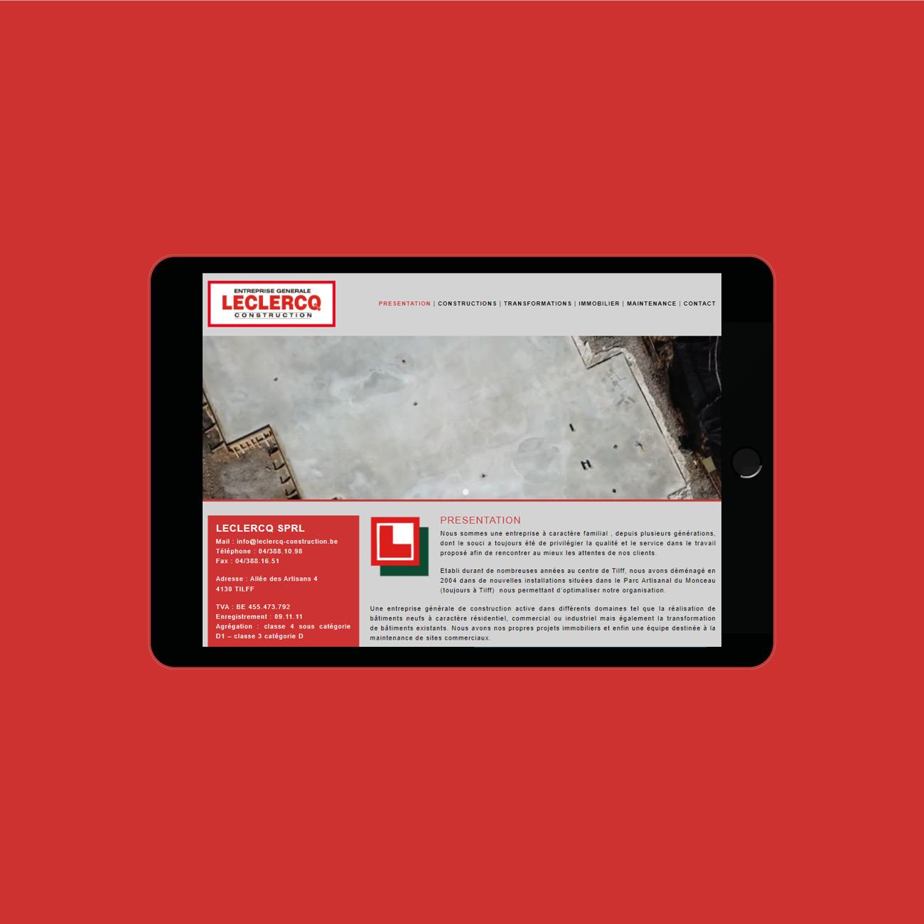 Miko Digital Agence web à Liège -Site internet pour Leclercq Construction
