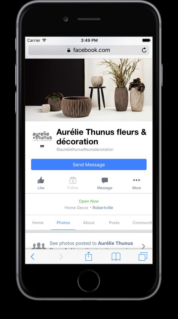 agence web gestion page facebook ios Aurélie Thunus fleurs et décoration