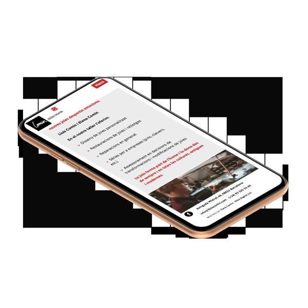 Création site web Liège mobile Comin Joieria Barcelone