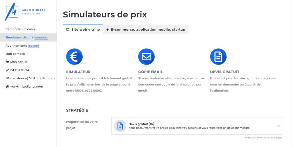 Simulateur de prix pour création de site Web